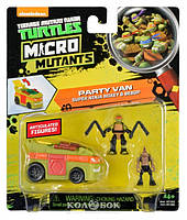 Игровой набор серии Черепашки-Ниндзя Micro Микеланджело и Бибоп в фургоне для вечеринок