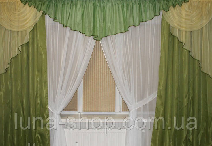 Готовые шторы с тюлем, с ламбрекеном Натали, салатовый, на карн з 2.5- 3.5 м