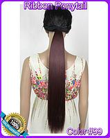 Шиньон хвост на ленте, прямые волосы, наращивание волос, длина - 55 см, вес - 90 г, цвет - №99