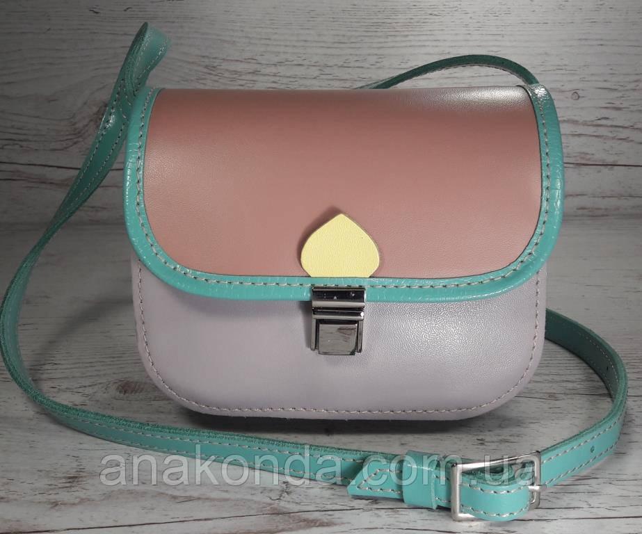 432 Натуральная кожа, Мини-сумочка кросс-боди женская, на замочке, без подкладки, цвет лаванда, пудра