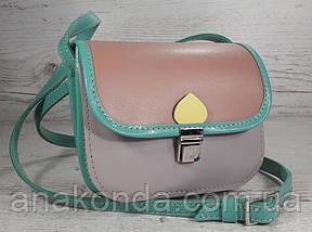432 Натуральная кожа, Мини-сумочка кросс-боди женская, на замочке, без подкладки, цвет лаванда, пудра, фото 2