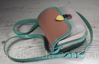 432 Натуральная кожа, Мини-сумочка кросс-боди женская, на замочке, без подкладки, цвет лаванда, пудра, фото 3