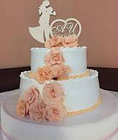 """Весільна фігурка в торт. Імена і прізвище на торт з дерева. Дата весілля з дерева. """"Парочка"""", фото 1"""