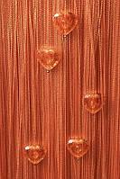 Шторы нити Сердечки № 3 оранжевый