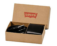 Мужской подарочный набор портмоне и ремень Levi's Оригинал натуральная кожа черный фирменный Левис
