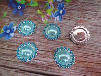 Полужемчуг в стразовой оправе, 15 мм, цвет голубой
