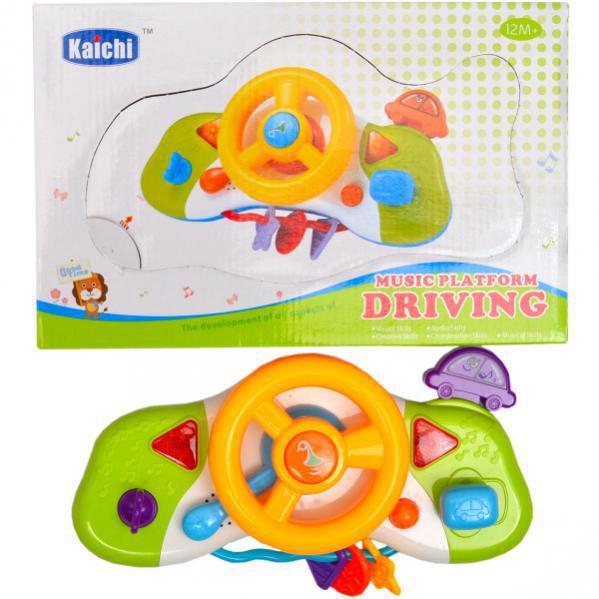 Детский музыкальный руль - Кроха руль, Развивающая игрушка Автотренажер для малышей, K999-85B
