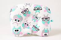 """Ортопедическая подушка для новорожденных  BabySoon """"Розовые совушки в очках"""" 22 х 26 см"""
