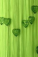 Шторы нити Сердечки № 206 Ярко Салатовый