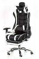 Геймерское кресло еxtrеmе Racе черно-белое с подножкой, поясничным валиком и подголовником