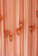 Шторы нити Сердечки № 209 Персиковые