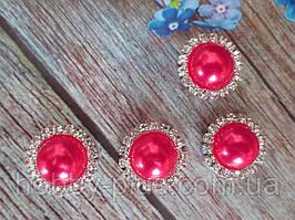 Напів-перли в стразовой оправі, 20 мм, колір червоний