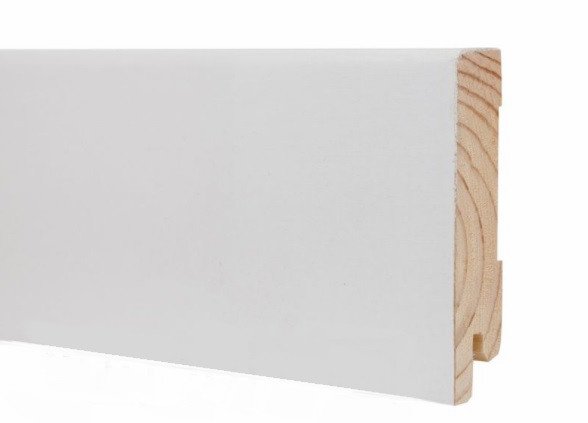 Плинтус белый напольный деревянный 80*19*2200 мм, шпонированный шелковисто-матовый