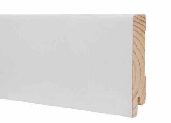 Плінтус підлоговий білий дерев'яний 80*19*2200 мм, шпонований шовковисто-матовий