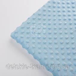 Відріз плюшу minky М-7 для пледа розміром 100*80 см блакитного кольору