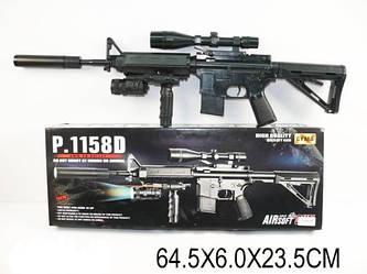 Автомат дитячий 1158D, копія гвинтівки М16, на пульках, лазер, ліхтарик, іграшкова зброя