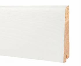 Плинтус белый напольный высокий деревянный 100*19*2200 мм, Шпонированный шелковисто-матовый