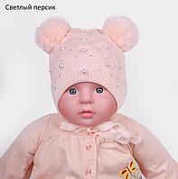 Детская шапка с двумя помпонами, фото 1