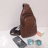 Мужской рюкзак сумка на одно плечо искусственная кожа коричневый, фото 1