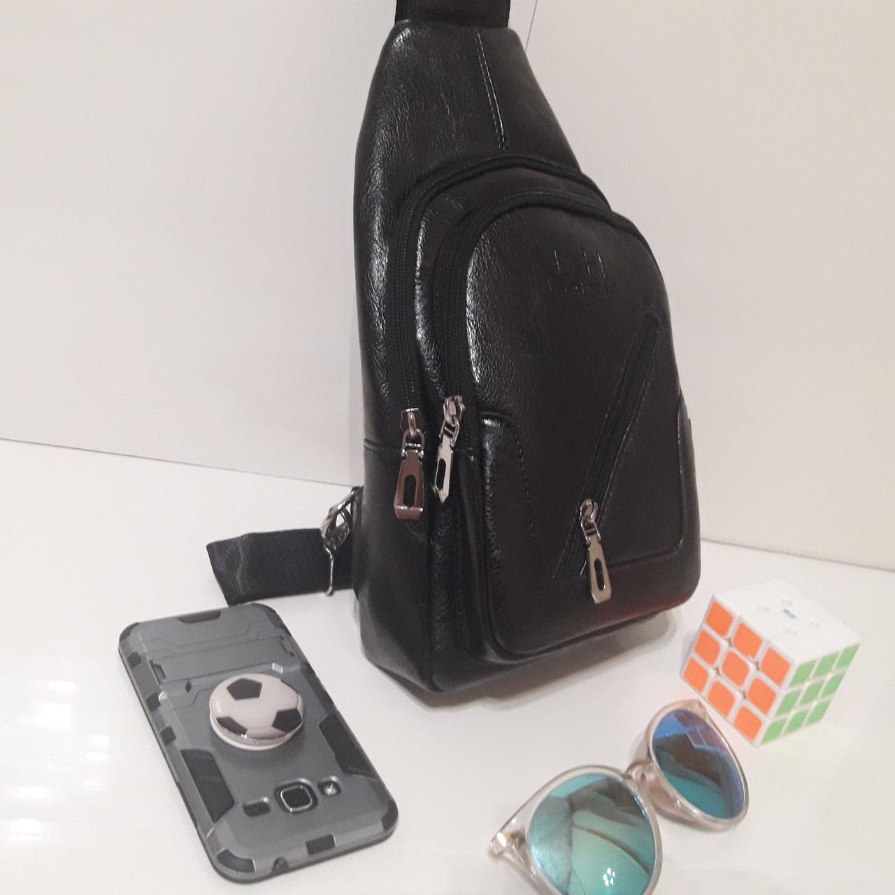 Рюкзак сумка на одно плечо городской искусственная кожа черный