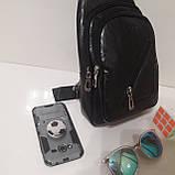 Рюкзак сумка на одно плечо городской искусственная кожа черный, фото 3