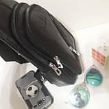 Рюкзак сумка на одно плечо городской искусственная кожа черный, фото 4