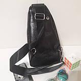 Рюкзак сумка на одно плечо городской искусственная кожа черный, фото 6