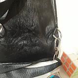 Рюкзак сумка на одно плечо городской искусственная кожа черный, фото 7