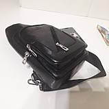 Рюкзак сумка на одно плечо городской искусственная кожа черный, фото 9