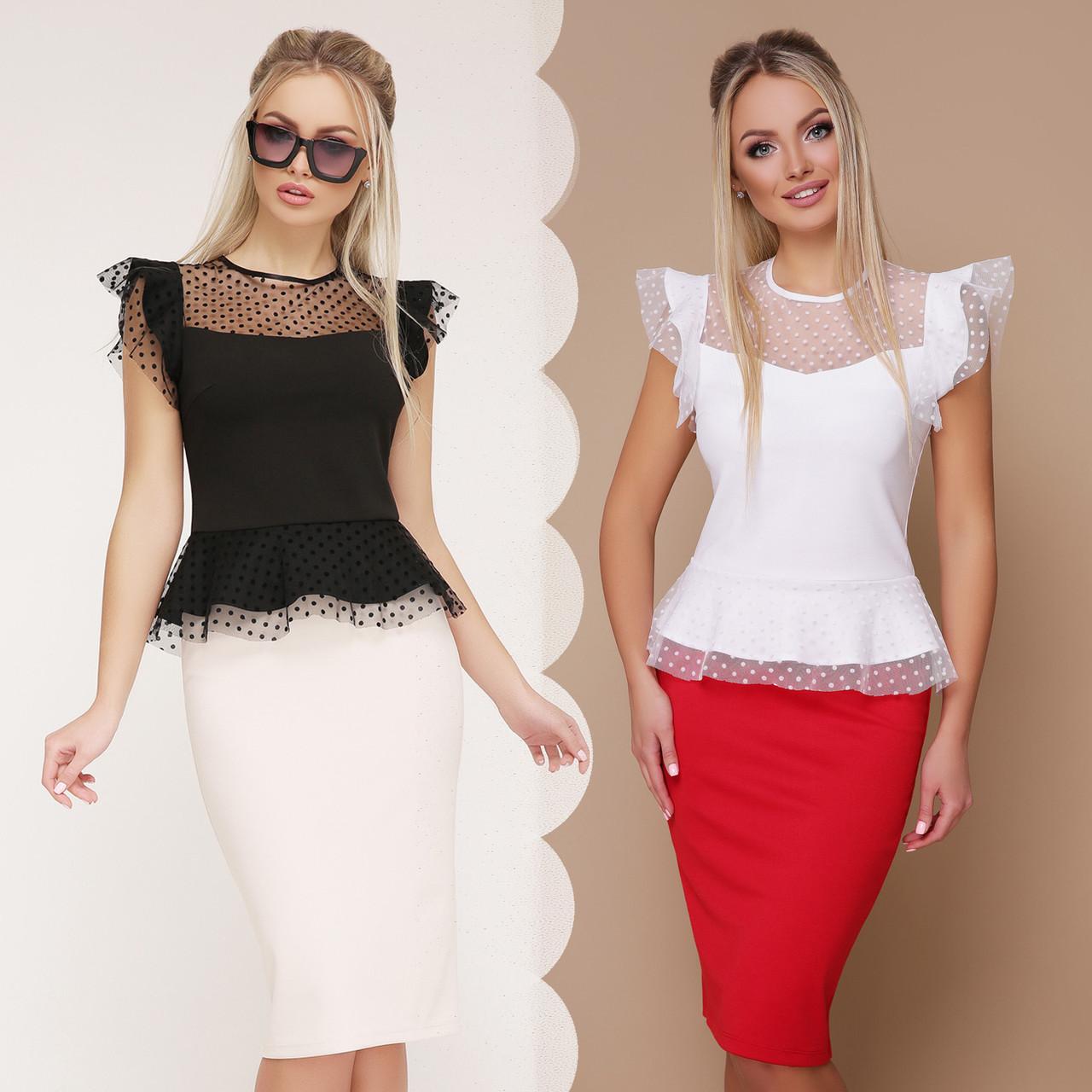 b2fbc4a6fbb Купить Женская блузка с баской крылышками и прозрачными вставками по ...
