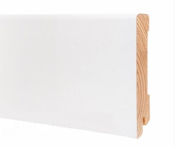Плинтус белый напольный широкий деревянный 100*19*2200 мм, Шпонированный шелковисто-матовый