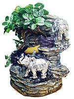 Фонтан со слонами декоративный подвесной с деревьями и водяной мельницей комнатный настольный мини 36*36