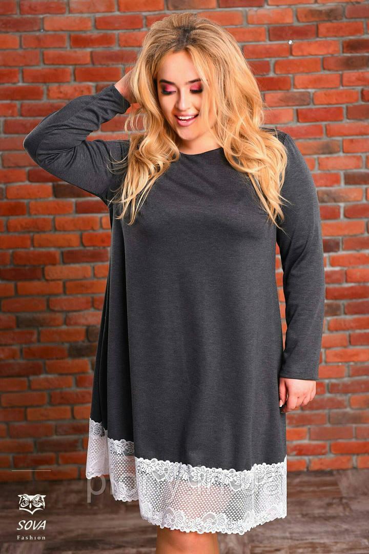 Женское трикотажное Платье с кружевом Батал  продажа, цена в Одессе ... af84a75c924