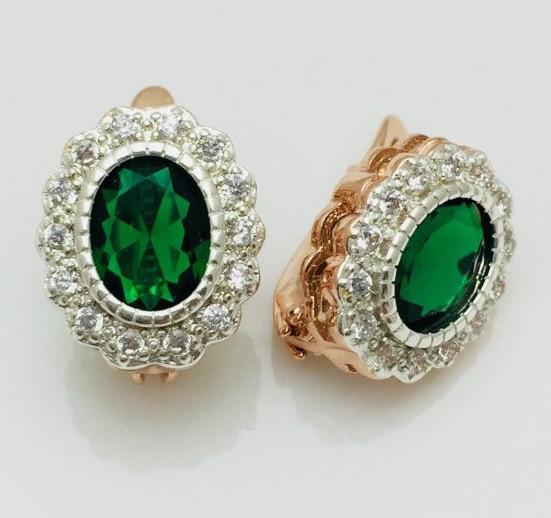 Серьги Fallon Моно зеленые, позолота 18К + родий
