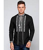 Мужская вышитая рубашка. Черная рубашка с белой вышивкой. Машинная вышивка.  Вышиванки мужские. cbd9edc0c4ce3
