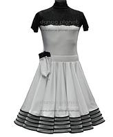 """Платье-бейсик для спортивно - бальных танцев """" 02 Белый + 01 Черный"""" съемная юбка"""
