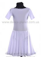 """Платье-бейсик для спортивно - бальных танцев """" 02 Белый """""""