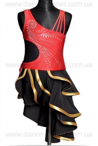 """Платье латина для спортивно - бальных танцев  """" Черный, красный"""""""