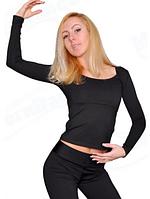 """Топ с длинным рукавом для спортивно - бальных танцев  """" Черный"""""""