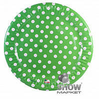 Набор одноразовых тарелок Горох зеленый 18 см  6 шт./упак.