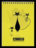 Блокнот А5 Buromax 48стр клетка Коти перфорация картон спираль желтый BM.2475-08
