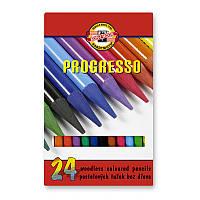 Карандаши цветные Koh-i-noor Progresso 24цв 12шт бездревесные 875802