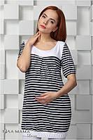 Туника для беременных Francis р. 44 ТМ Юла Мама Полоска индиго-белый с белой отделкой S15-9.12.1