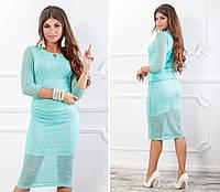 Костюм блуза + юбка кружево бирюзовый, фото 1