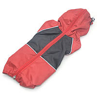 Дождевик для собак c капюшоном красный+черный