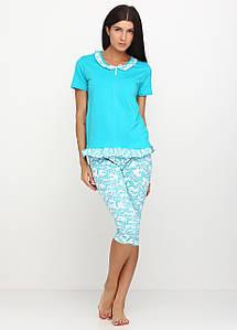 Женская пижама футболка и бриджи