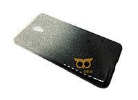 Силиконовый чехол Gradient для Meizu M6 черный и фиолетовый