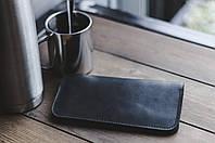 Мужское удобное портмоне из натуральной кожи черное