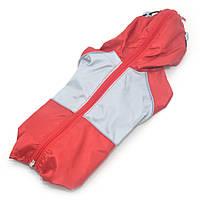 Дождевик для собак c капюшоном красный+серый, фото 1