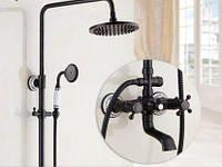 Душевая колона черная со смесителем краном лейкой и верхним душем 0610